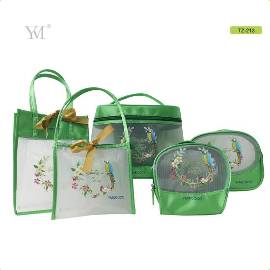 High Standard Newest Transparent Travel Mesh Toiletry Cosmetic Bag Set