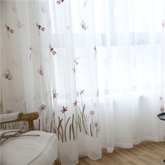 Dragonfly And Butterfly Kids 3D Tulle Curtains Embroidered Princess Style White Voile Sheer