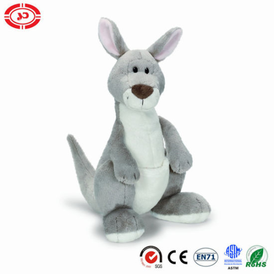 Custom Wild Kangaroo Grey Soft Plush Toy Medium Sitting Animal
