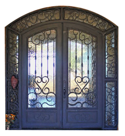 Steel Material Security Iron Entry Door with Transom pictures & photos