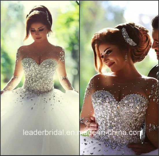 Crystal Bridal Ball Gowns Long Sleeves Beading Arabic Wedding Dress Z2016 pictures & photos