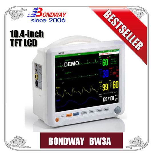 Portable Patient Monitor with ECG, NIBP, SpO2, Temperature, Pulse Rate, for Surgical, Emergency, ICU, Ambulance