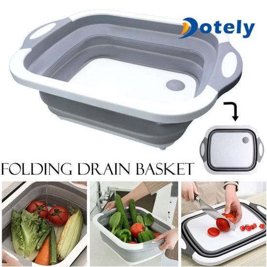 Multifunction Kitchen Foldable Sinks Drain Basket Chopping Board