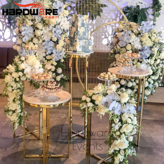 China Modern Furniture Gold Plated Stainless Steel Luxury Wedding Cake Table Decoration China Party Cake Table And Acrylic Cake Table Price