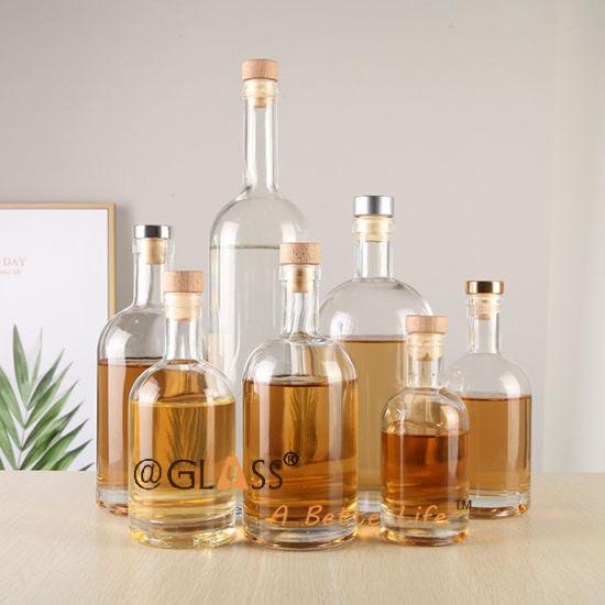 500ml 750ml 1 Liter Glass Wine Bottle Drinking Liquor Vodka Whisky Bottle Spirits Bottle