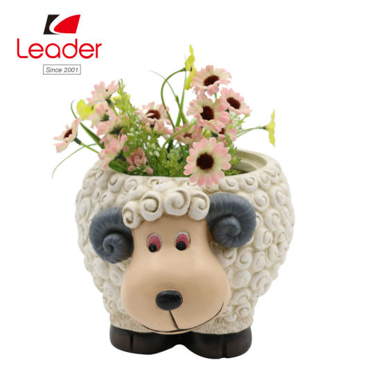 Resin Sheep Flowerpot Figurine for Home and Garden Decoration