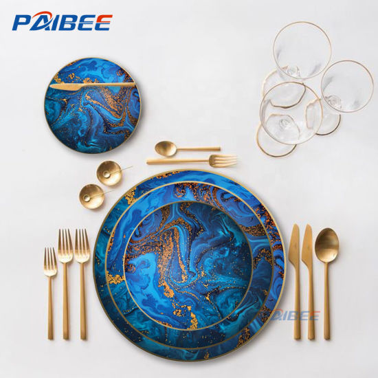 2019 New Dinner Plate Space Design Dinnerware Set Blue Dessert Plate 8′′ for Wedding Party Rental pictures & photos