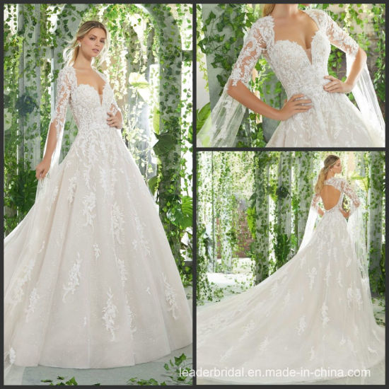 cec1cef4 Full Sleeves Wedding Dress V-Neck Lace Glitter Bridal Ball Gown M1721  pictures & photos