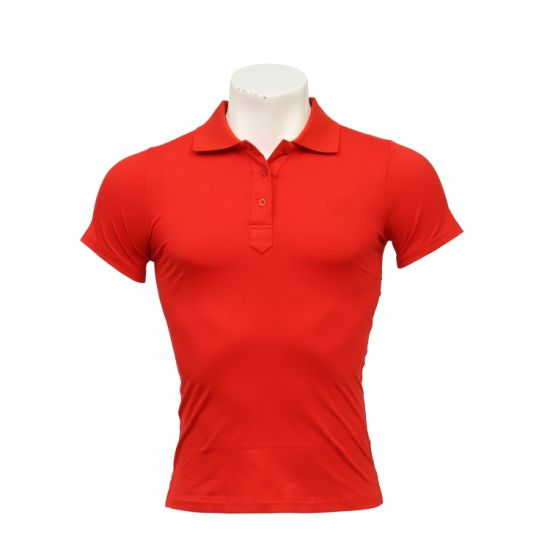Women's Elastic Cotton Polo-Shirt with Short Sleeves and Polo Neck