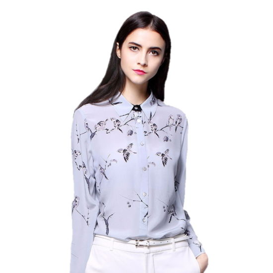 Long Sleeve Silk Blouse Women High Quality Floral Printing Silk Shirts pictures & photos