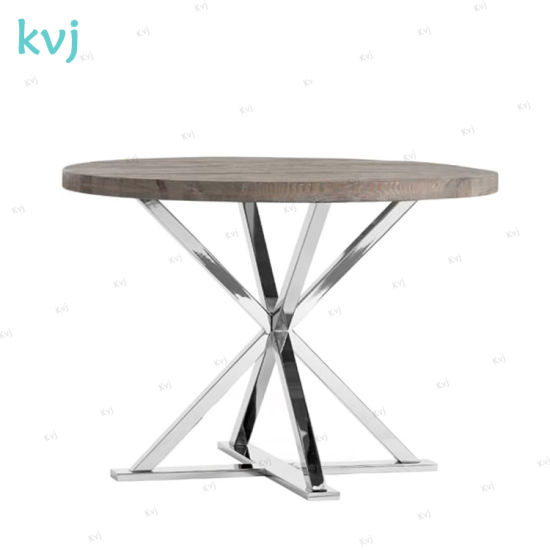 China Kvj 7247 Modern Industrial Stainless Steel Base Round Dining Table China Dining Table Rustic Table