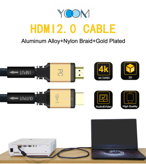 HDMI 2.0 Cable with Aluminum Alloy+Nylon Braid+Gold Plated