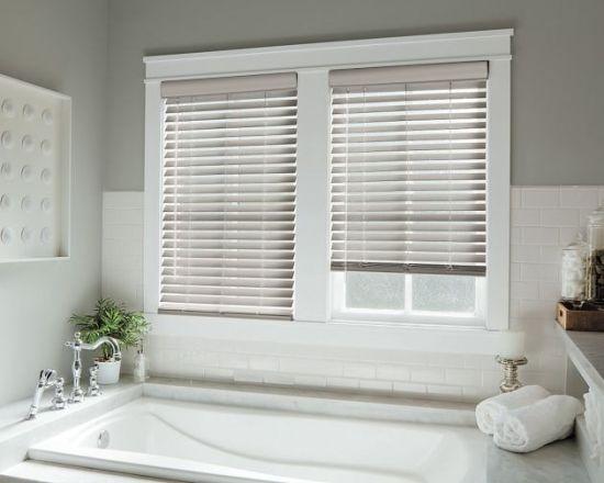 Fsc Certified 50mm White Wooden Venetian Blinds For Bay Window