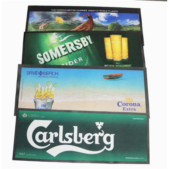 Personalized Rubber Foam Drink Bar Runner, Custom Made Logo Bar Mat for Bars