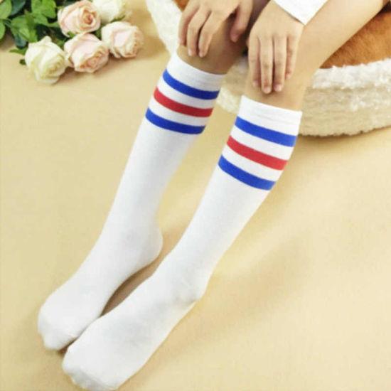 dd7718722 Kids Knee High Socks Girls Boys Football Stripes Cotton Sports School White  Socks Skate Children Baby Long Tube Leg Warm