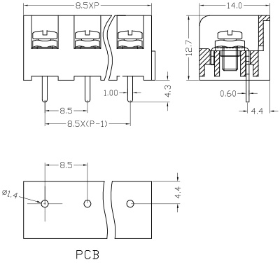 Certification 7 62mm 2-24 Pin/Way Fence Terminal Block Pitch 825A