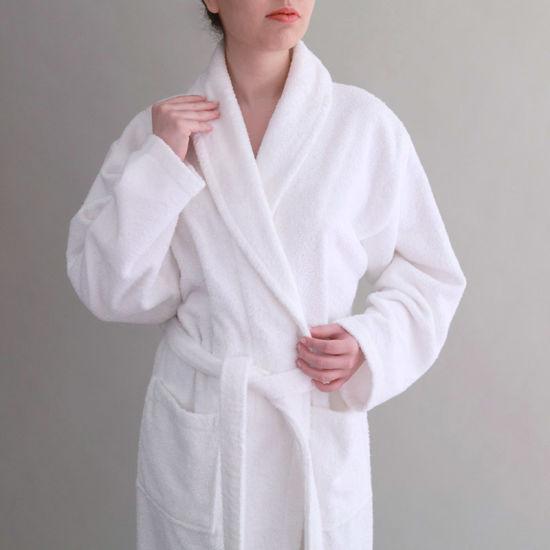 Jr058 Wholesale Luxury 100% Cotton White Velour Hotel Bathrobe Women