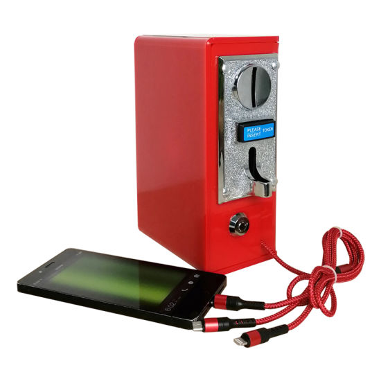 2020 New Product Cheap Charger 3-in-1 Data Cable Self-Service Coin-Operated Cellphone Charger Machine for Restaurant