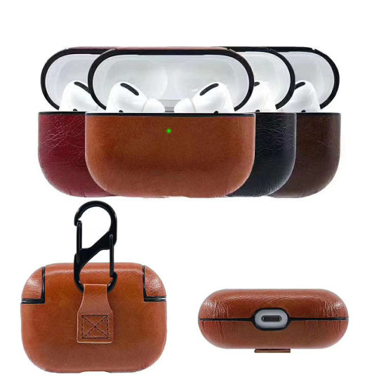 Luxury Protective Cover Hard Case Anti-Lost Buckle Headphone PU Leather Earphone Case for Airpods PRO