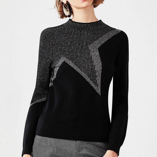 Contrast Star Pattern Jacquard Ladies Wool Sweater 2020 Autumn and Winter New Round Neck Fashion Design with LurexMetallic