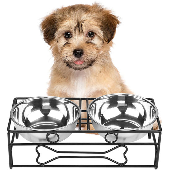 Bone Style Pet Feeder Dog Cat Stainless Steel Food /Water Bowls with Iron Stand