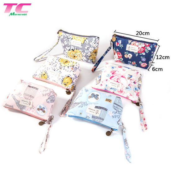 Morecredit New Arrival Womens Travel Makeup Bag Pouch for Wholesale, Custom Print Logo Lady Purse Beauty Cosmetic Bag