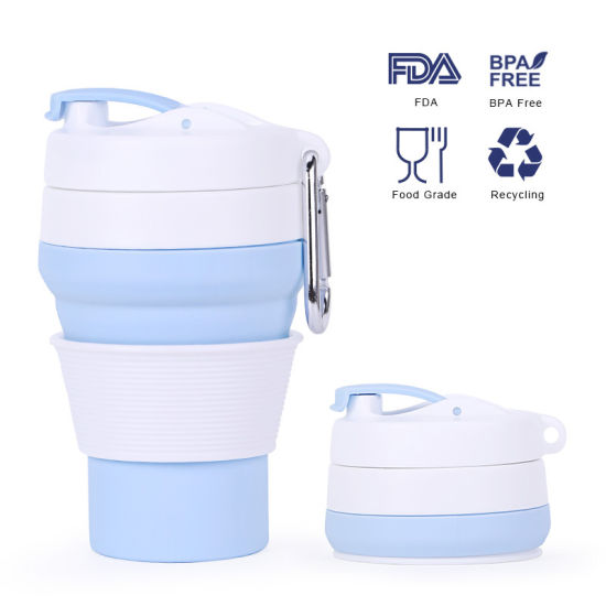 Hot Products Eco Friendly Silicone Travel Folding Collapsible Reusable Coffee Cup, Silicone Cup, Tea Cup