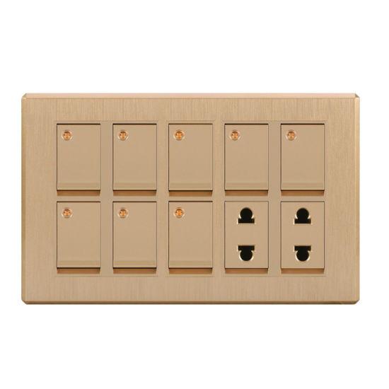 Metal Base 8 Gang Switch + 2 Socket Pakistan Design