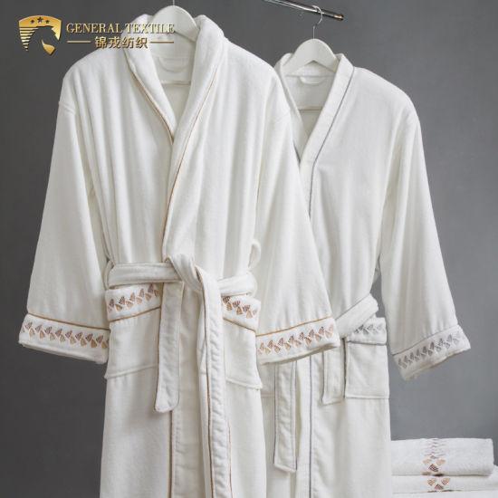 Jr060 Shawl Collar 100% Cotton White Velour Hotel Bathrobe in Stock