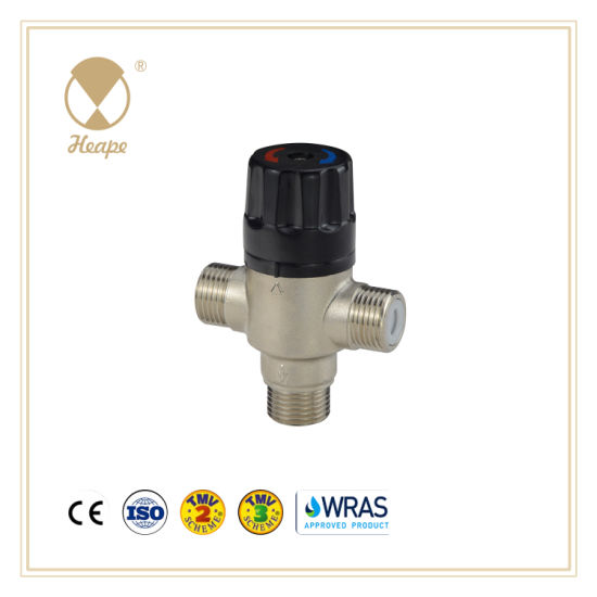 Heape Brass Thermostatic Hot Cold Water Mini Style 3way Mixing Valve for Water Heater