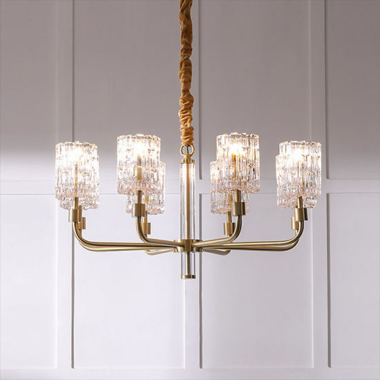 Simple Style Gold Pendant Light with Glass Shade and Middle Column