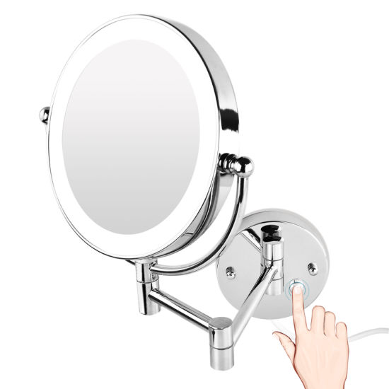 China Dual Arm Swivel Extendable 7x Magnifying Shave Mirror Attached