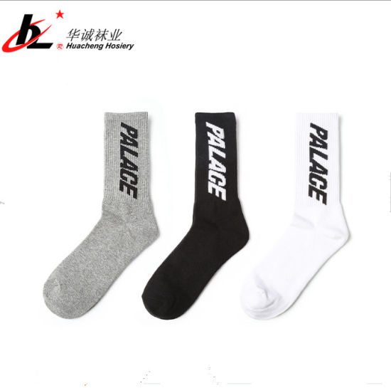 Men's Athletic Crew Socks with Personality Palace Letter Jacquard