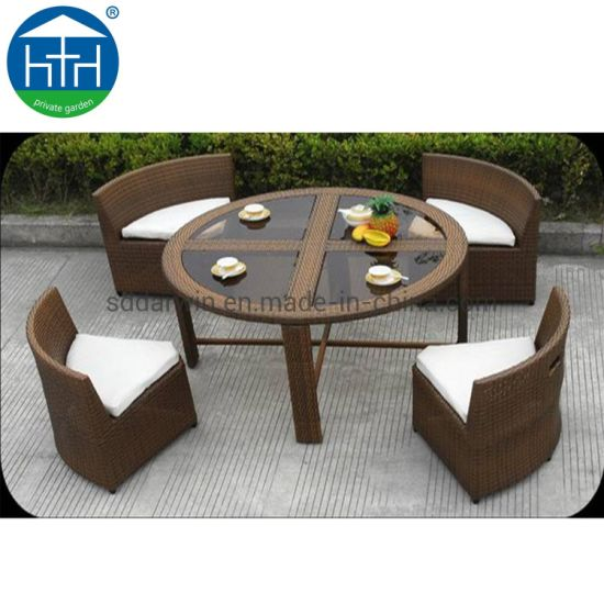 China Leisure Yard Pe Rattan Furniture Patio Wicker Garden Dining Furniture For Sale China Wicker Dining Set Hotel Patio Set