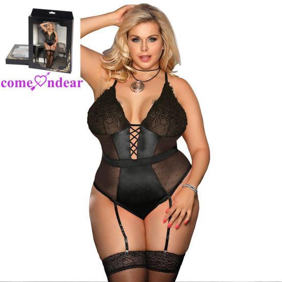 5a341ed8398 Plus Size Black Deluxe Satin Lace Stitching Garter Belt Lingerie pictures    photos