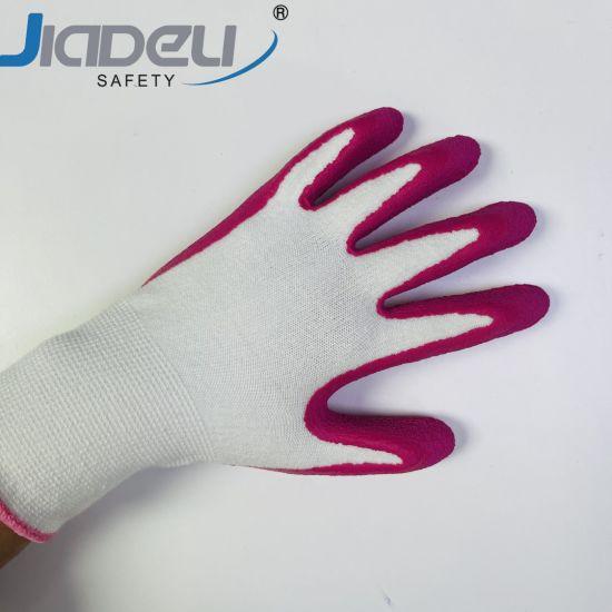Kids Girl Women Lady Labor 13 Gauge Bamboo Spandex White Pink Latex Palm Garden Work Gloves