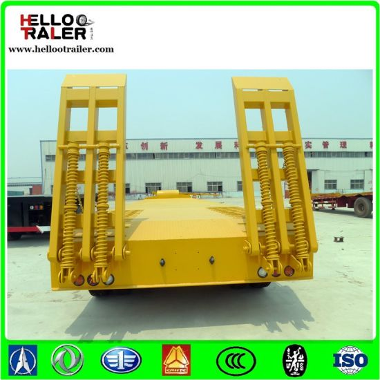 Tri Axle 60 Tons Lowbed Semi Trailer Used for Excavator Semi-Trailer pictures & photos