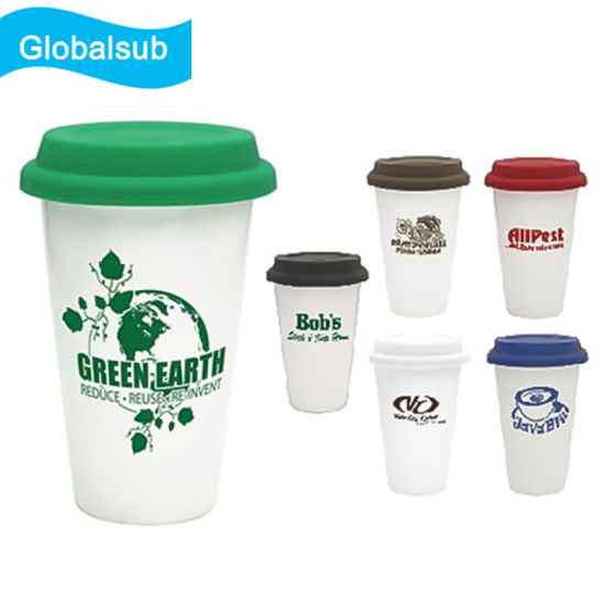 Promotion 11oz Sublimation Double Wall Ceramic Travel Mug with Silicone Lid Grade a pictures & photos
