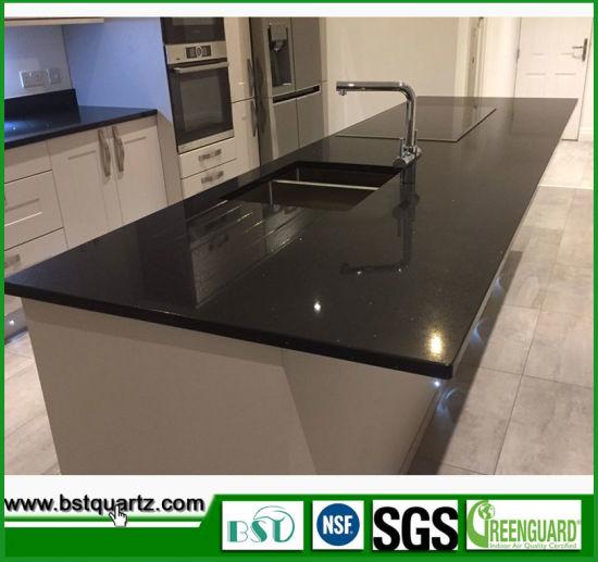 China Hot Sale Crystal Stone Sparkling Black Quartz Countertops