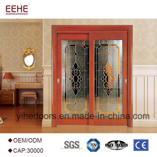 China Half Glass Interior Timber Wood Doors Manufacturer Price