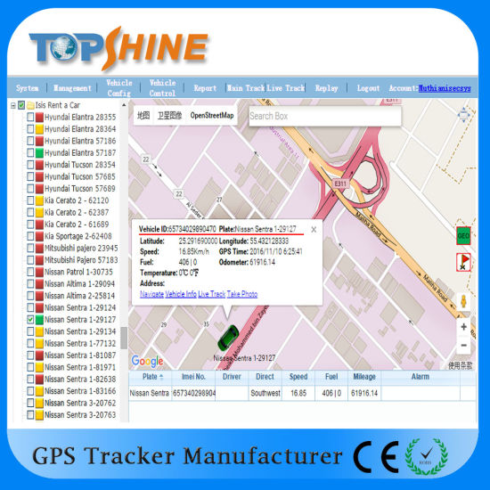 Vehicle GPS Tracker Support 2 Fuel Sensor Temperature Monitoring Sos pictures & photos