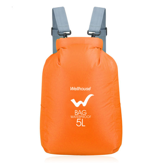 5L Blue Outdoor Waterproof Swimming Dry Bag Foldable Nylon Drifting Kayaking Bags Multifunction Travel Storage Backpack 4 Colors