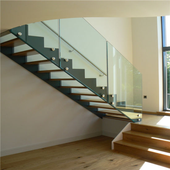 Interior Tempered Laminated Glass Steps Straight Staircase