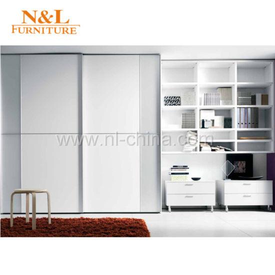 China Wood Sliding Door Closet Wardrobe With White Colour Pvc Door