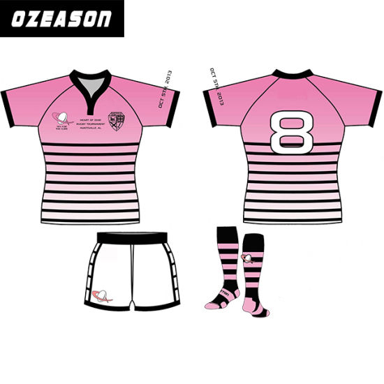 f8623a28fe9 Any Team Any Logo Team Women Pink Rugby Jersey American Football Jersey  pictures   photos