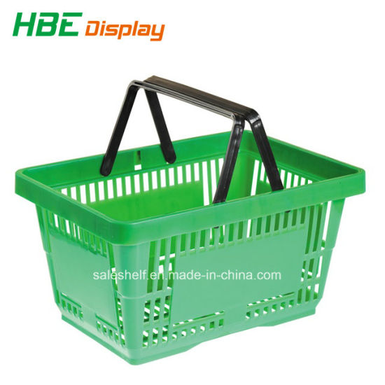 Supermarket Single Hand Lockable Plastic Shopping Basket pictures & photos