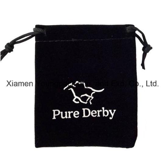 Fashion Promotional Custom Printed Black Drawstring Gift Pouch Velvet Bag