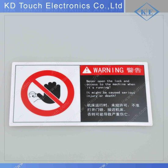 Polyester Graphic Warning Label with 3m Adhesive for Industrial Factory