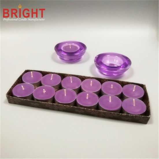 Purple Machine Made Scented with Glass Holder Tealight Candle
