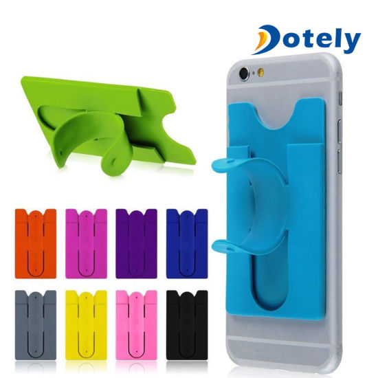 more photos 9df07 83b19 Useful Silicone Stick Credit Card Holder Slot Stand Shell Case for Smart  Phone